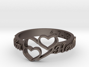 Anniversary Ring with Triple Heart - April 7, 1990 in Polished Bronzed-Silver Steel