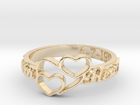 Anniversary Ring with Triple Heart - April 7, 1990 in 14k Gold Plated Brass