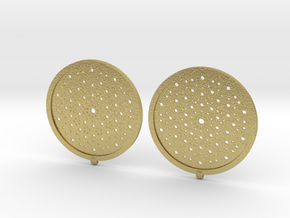 Quasicrystals Diffraction Pattern Pendant - earrin in Natural Brass