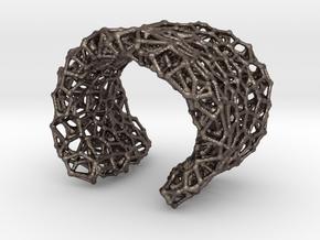 Cellular Cuff Bracelet in Polished Bronzed-Silver Steel