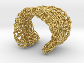 Cellular Cuff Bracelet in Polished Brass