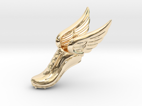 Mercury Winged Track Shoe Pendant in 14k Gold Plated Brass