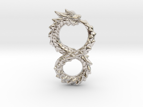 Ouroboros Dragon from Altered Carbon in Rhodium Plated Brass