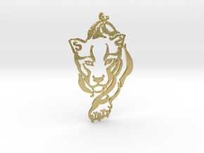 Crouching Tiger pendant in Natural Brass
