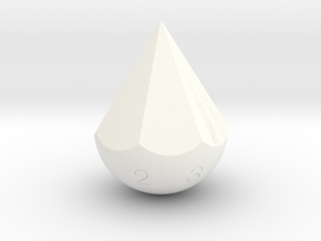 d7 Teardrop Dice in White Processed Versatile Plastic