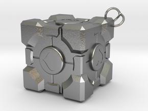 Weighted Companion Cube Keychain in Natural Silver