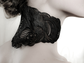 Wave Necklace in Black Natural Versatile Plastic
