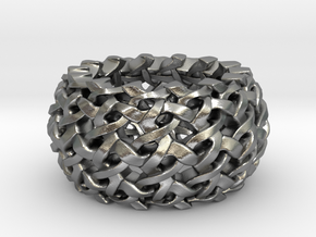 Endless Interlaced 3D printed Silver Ring / all si in Natural Silver: 6.75 / 53.375