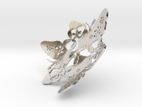 Butterfly Bowl 1 - d=8cm in Rhodium Plated Brass