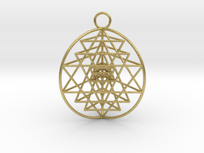 3D Sri Yantra 3 Sided Optimal in Natural Brass
