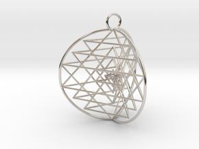 3D Sri Yantra 3 Sided Symmetrical in Platinum