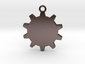 Time (Gear) Pendant in Polished Bronze Steel