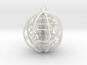 "3D Sri Yantra 8 Sided Optimal 2.2"" Pendant in White Natural Versatile Plastic"