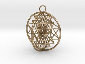 3D Sri Yantra 4 Sided Optimal in Polished Gold Steel