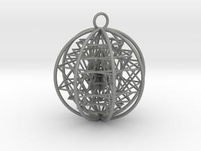 "3D Sri Yantra 8 Sided Symmetrical 2"" Pendant in Gray PA12"