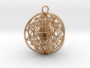 "3D Sri Yantra 8 Sided Symmetrical Pendant 2"" in Natural Bronze"