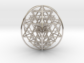 """3D Sri Yantra 6 Sided Optimal Large 3"""" in Rhodium Plated Brass"""