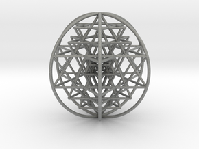 """3D Sri Yantra 6 Sided Optimal Large 3+"""" in Gray PA12"""