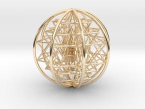 "3D Sri Yantra 8 Sided Symmetrical 3"" in 14K Yellow Gold"