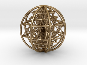 "3D Sri Yantra 8 Sided Optimal Large 3"" in Polished Gold Steel"
