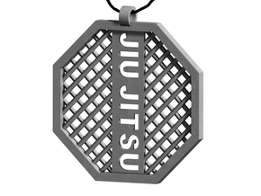 Jiu Jitsu Octagon Pendant in Polished Bronzed Silver Steel