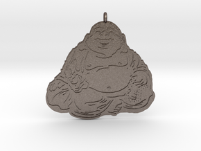 Laughing Buddha pendant colored in Polished Bronzed-Silver Steel