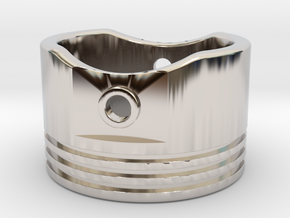 Piston Ring - US Size 10 in Rhodium Plated Brass
