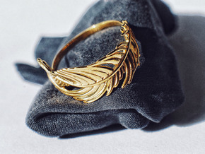 Feather Ring in 18k Gold Plated Brass: 5 / 49