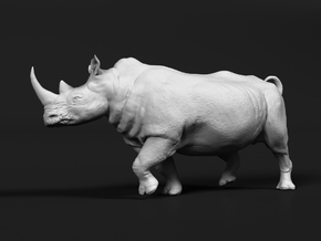 White Rhinoceros 1:6 Running Male in White Natural Versatile Plastic