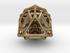 Ported looped Tetrahedron steel 8.5x7.3x8 cm  in Polished Gold Steel