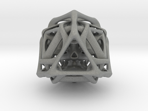 Ported looped Tetrahedron steel 8.5x7.3x8 cm  in Gray PA12