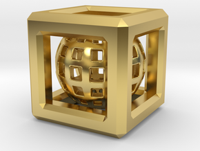 Sphere in Cube pendant in Polished Brass (Interlocking Parts)