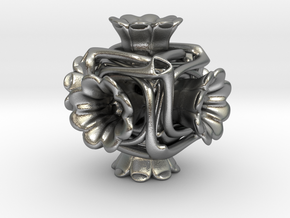 Cubeoctahedral flower  in Natural Silver