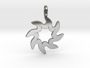 Sun pendant in Fine Detail Polished Silver: Small
