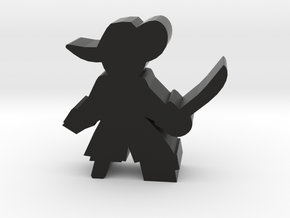 Game Piece, Pirate Captain, sword and peg leg in Black Natural Versatile Plastic