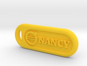 Volvo keychain in Yellow Processed Versatile Plastic