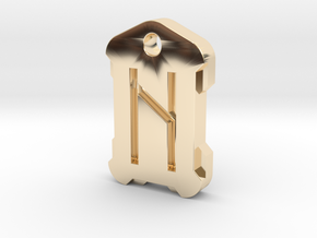 Nordic Rune Letter H in 14k Gold Plated Brass