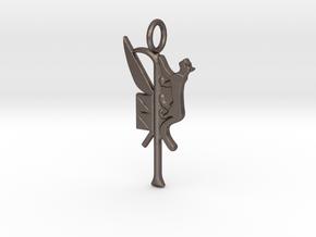 Mafdet amulet in Polished Bronzed-Silver Steel