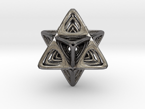 Sacred Merkaba nested in Polished Nickel Steel