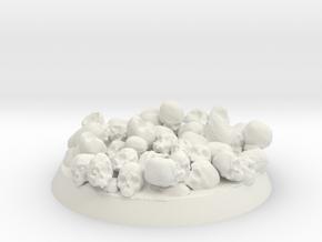 Skull base 32mm in White Natural Versatile Plastic