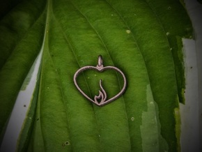 Embracing Intensity Pendant - metal in Polished Bronzed-Silver Steel