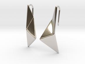 sWINGS Origami Earrings in Rhodium Plated Brass
