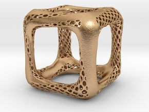 Perforated Twisted Cube in Natural Bronze