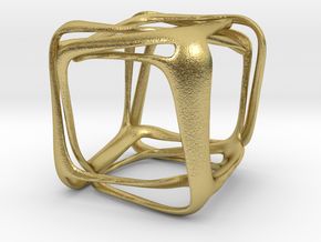 Twisted Looped Cube in Natural Brass