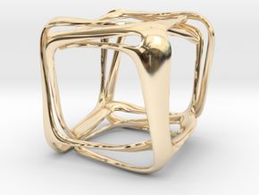 Twisted Looped Cube in 14k Gold Plated Brass