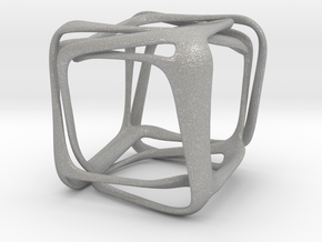 Twisted Looped Cube in Aluminum