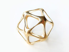 Icosahedron Pendant in Natural Brass