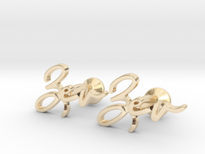 Name Cufflinks - Zev in 14k Gold Plated Brass