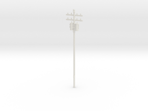 Utility/Electrical Pole in White Natural Versatile Plastic: 6mm