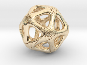 Perforated Twisted Icosahedron Type 1 in 14k Gold Plated Brass